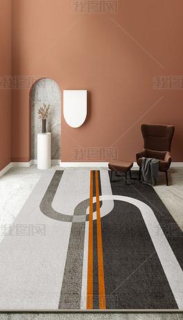 轻奢抽象北欧现代简约几何客厅地毯2