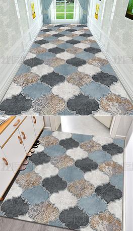 古典欧式波斯花纹民族地毯走廊循环地毯图