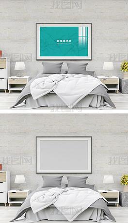 高清卧室床头巨幅挂画装饰画样机C70