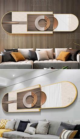 现代轻奢意式立体金属3D空间客厅组合装饰画3