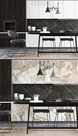 现代新中式餐厅厨房背景墙壁纸墙纸场景样机56