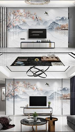 新中式手绘玉兰花鸟水墨山水大理石纹电视背景墙