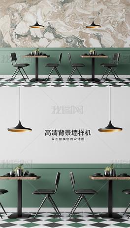 现代饭店餐厅工装背景墙壁纸墙纸场景样机1