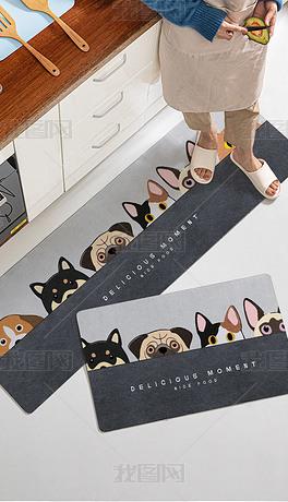 北欧现代卡通小狗厨房地垫地毯脚垫床边毯