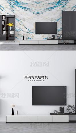 现代客厅电视柜背景墙墙纸壁纸效果图样机1