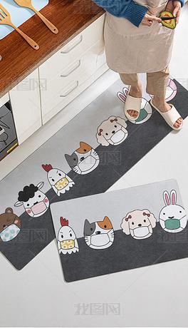北欧现代卡通动物厨房地垫地毯脚垫床边毯