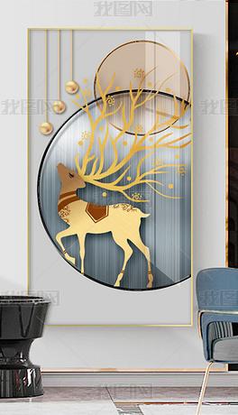 现代简约抽象几何轻奢创意麋鹿玄关装饰画6