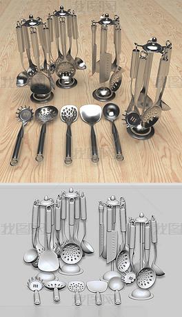 厨房刀叉勺子餐具-8个压缩包多种制作软件版本