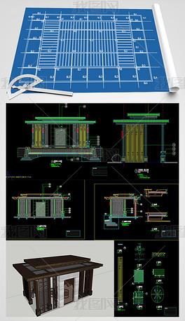景观廊架CAD施工图SU模型
