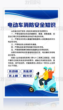 黄色清新严禁停放电动车消防安全知识海报模板