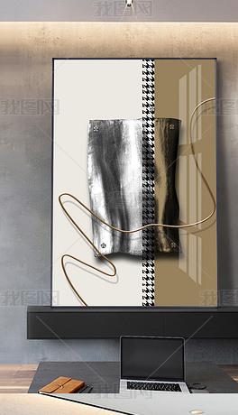 现代抽象几何千鸟格金属拉丝客厅玄关装饰画2