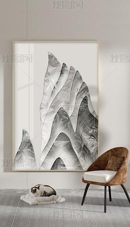珐琅彩新中式手绘水墨山水现在简约玄关装饰画2