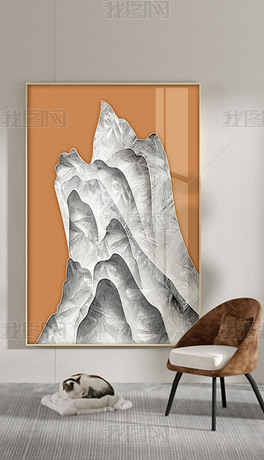 珐琅彩新中式手绘水墨山水现在简约玄关装饰画3