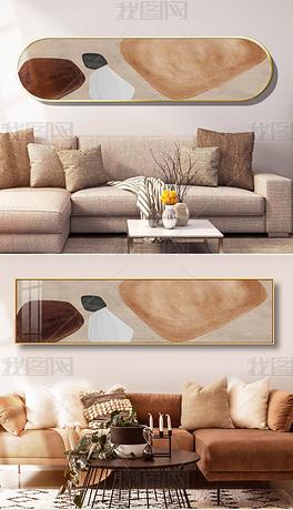 侘寂风装饰画手绘复古客厅床头装饰画