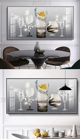 现代简约轻奢帆船酒杯风景单幅餐厅装饰画