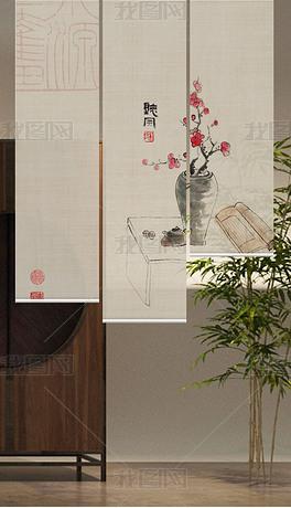 新中式国画清供梅花防蚊帘门帘升降卷帘家居图案