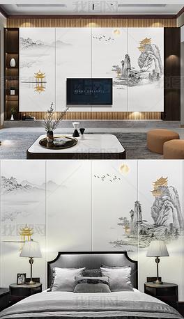 新中式山水抽象禅意麋鹿山水意境飞鸟金箔背景