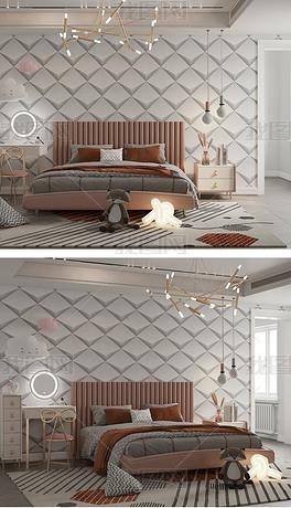 现代新中式卧室简洁墙纸背景墙样机模板