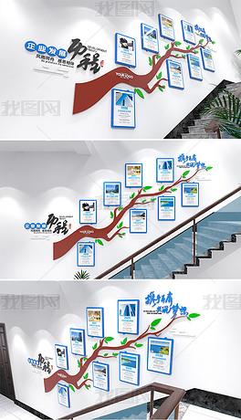 楼道企业发展历程大树创意文化墙