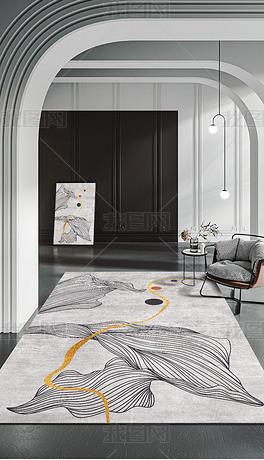 现代简约抽象动感线条艺术图案灰白地毯