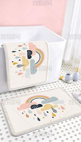 现代北欧可爱卡通网红彩虹浴室卫生间地垫地毯