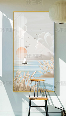 现代简约手绘小清新风景北欧玄关装饰画2