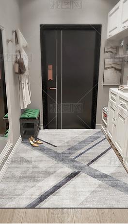 现代北欧轻奢几何抽象创意艺术进门地毯入户地垫