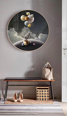 北欧现代创意轻奢大象太空星球圆框装饰画