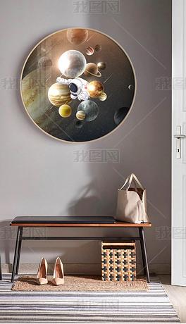 北欧现代创意轻奢宇航员太空星球圆框装饰画