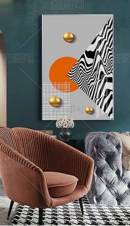 抽象几何现代简约轻奢客厅立体球装饰画