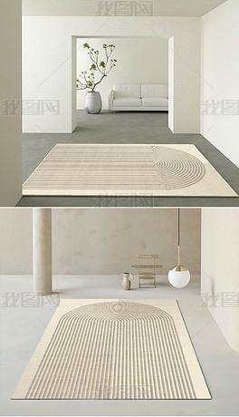 日式侘寂风客厅卧室轻奢现代简约床边毯地毯地垫