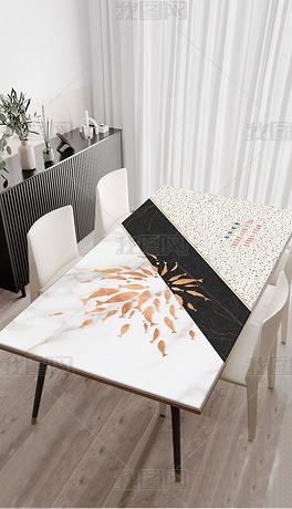 北欧现代简约轻奢几何金色群鱼桌布茶几餐桌垫
