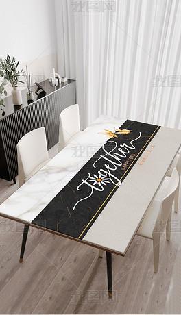 北欧现代简约轻奢抽象英文蝴蝶桌布茶几餐桌垫