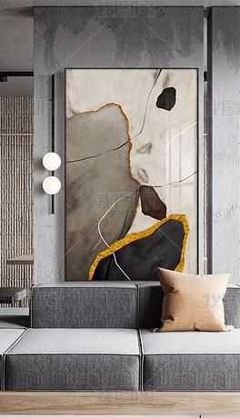 现代简约石来运转鎏金抽象大理石纹线条装饰画