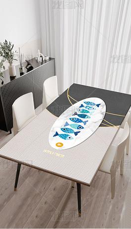 北欧现代简约轻奢几何手绘可爱鱼桌布茶几餐桌垫