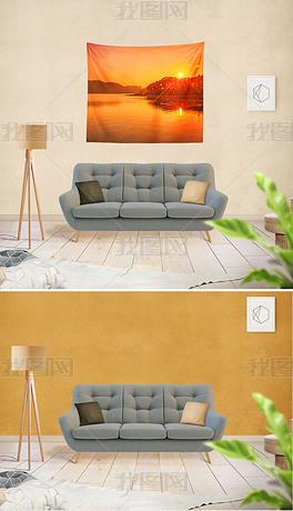 现代北欧客厅沙发墙纸背景墙挂布效果图样机