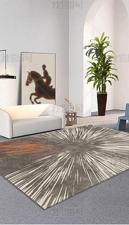 橙色现代北欧艺术客厅百搭ins风轻奢地毯地垫