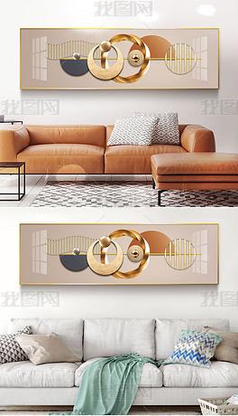 7现代简约轻奢抽象几何光影立体金箔客厅装饰画