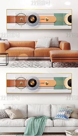 现代简约轻奢抽象几何光影立体金箔客厅装饰画