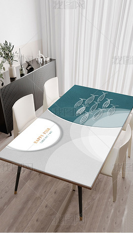 北欧现代简约轻奢手绘年年有鱼桌布茶几餐桌垫