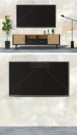 精细分层新中式客厅电视背景墙样机