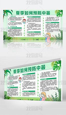 绿色清新夏季预防中暑知识科普宣传展板