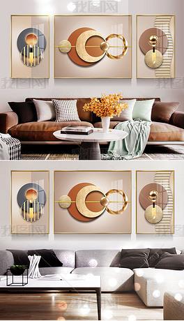 2现代简约轻奢抽象几何光影立体金箔客厅装饰画