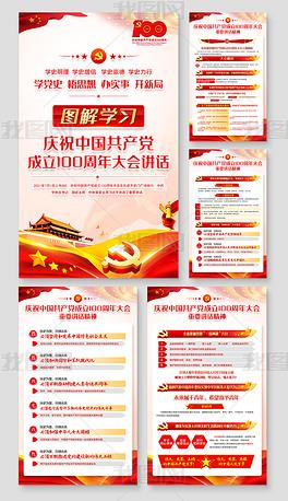 庆祝中国共产党成立100周年大会讲话展板