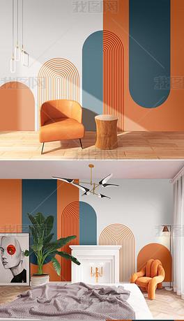 现代简约极简抽象几何莫兰迪客厅壁纸6