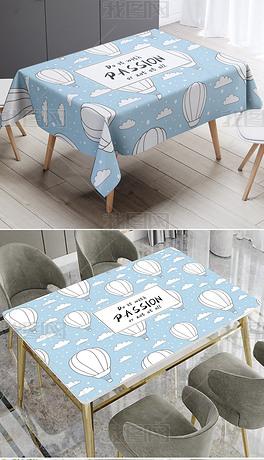 北欧INS风现代简约卡通蓝色热气球桌布桌垫