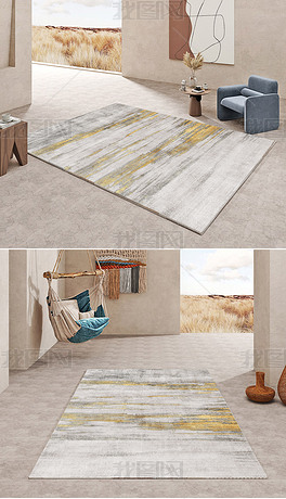 现代北欧轻奢抽象金色极简创意高端地毯地垫图案