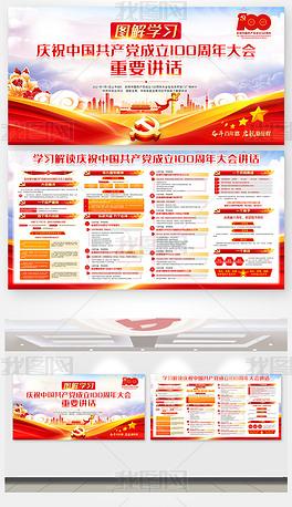 共产党成立100周年大会71重要讲话精神展板
