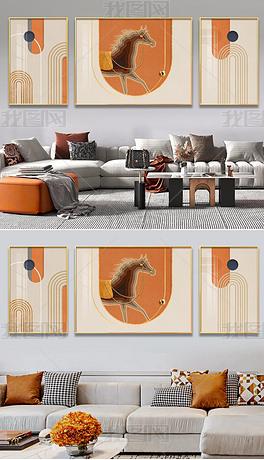 轻奢莫兰迪色动物客厅沙发背景墙立体装饰画2