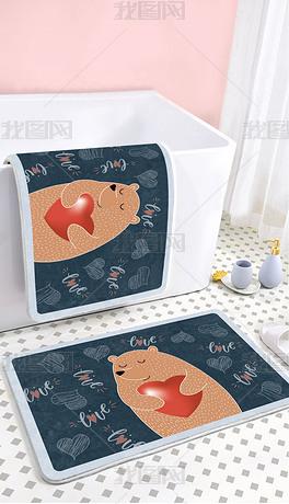 北欧可爱卡通网红爱心棕熊浴室卫生间地垫地毯